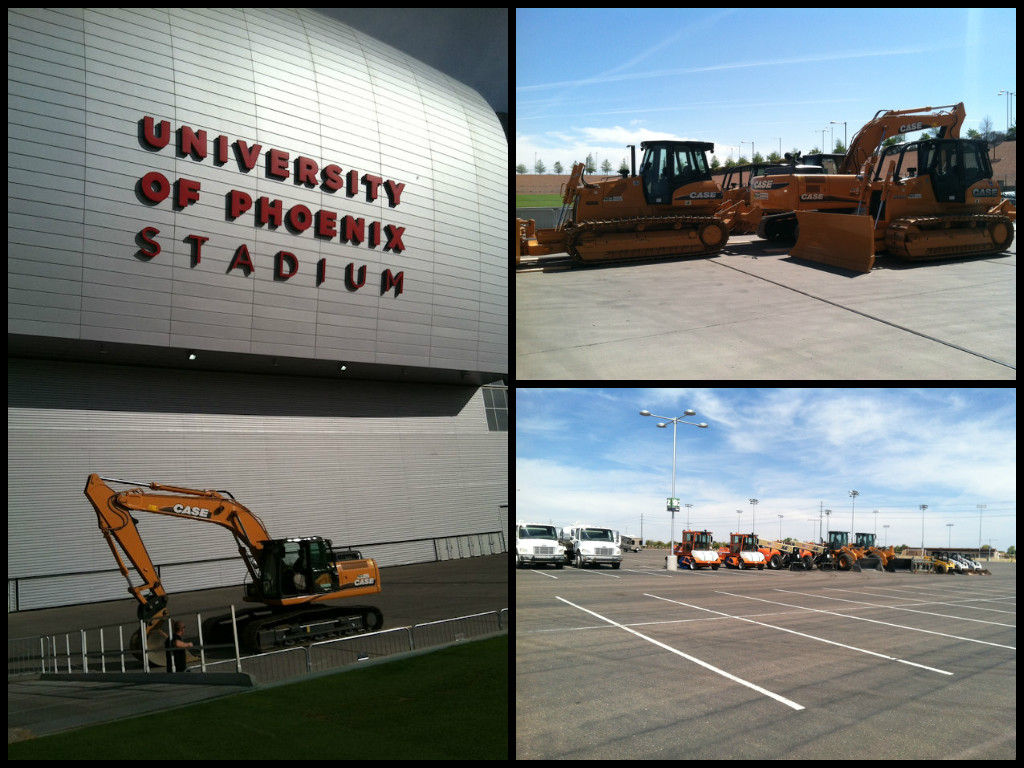 Equipment staging for the University Of Phoenix SST track build.