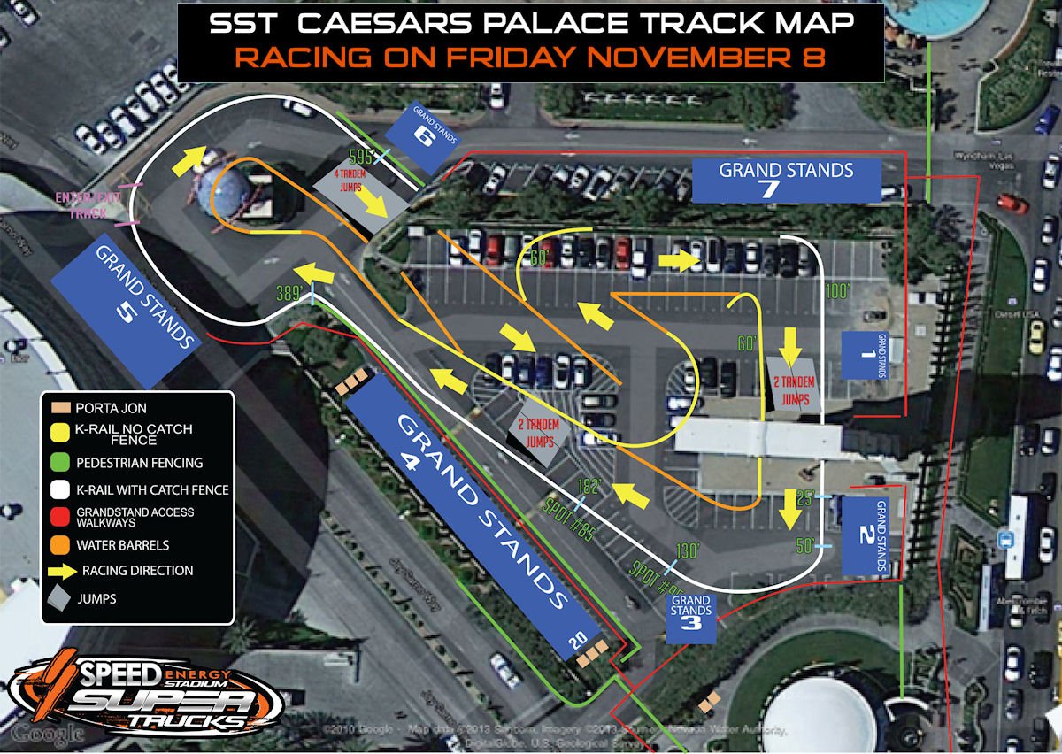 SST Caesars Palace track map. For tickets, please visit -> http://www.axs.com/events/245992/stadium-super-trucks-tickets